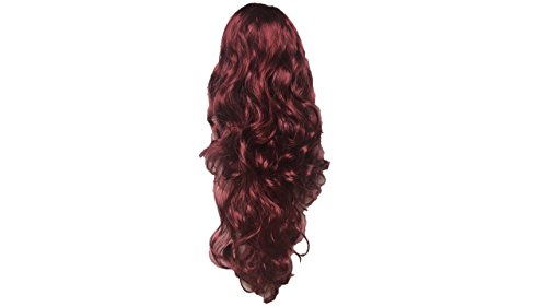 Parrucca riccia ondulata lunga da donna festa di halloween del partito del vestito operato di cosplay di modo di lunghezza completa delle signore halloween (vino rosso)
