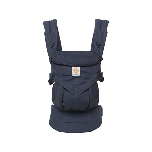 """ERGObaby Baby Carrier for Newborn to Toddler, 4-Position Omni 360 Navy Mini Dots, Ergonomic Child Carrier Backpack Ergobaby Baby carrier with 4 ergonomic wearing positions: parent facing, on the back, on the hip and on the front facing outwards. Supports hip-healthy """"m"""" shape position for baby's comfort and ergonomics. Adapts to baby's growth: Infant baby carrier newborn to toddler (7-33 lbs./ 3.2 to 20 kg), no infant insert needed. Tuck-away baby hood for sun protection (UPF 50+) and privacy. NEW - Maximum comfort for parent: Longwear comfort with lumbar support waistbelt and extra cushioned shoulder straps. 6"""