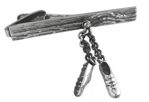 Unbekannt Sport Krawattennadel Krawattenklammer Sneakers Sportschuhe beweglich silbern geschwärtz ca. 5,8 cm lang + Silberbox
