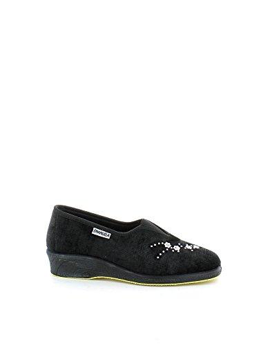 Pantofola in camoscio nero con fiori ed elastico N. 37