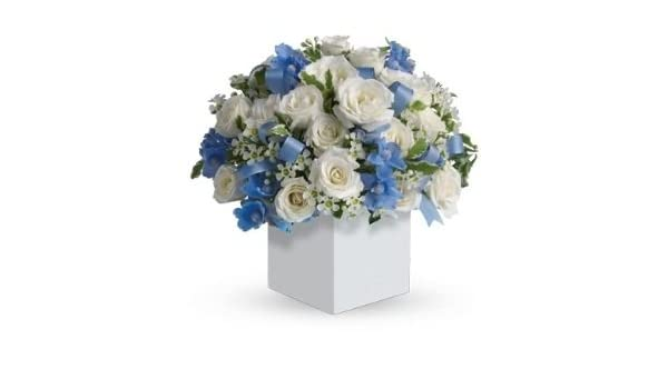 UK Mainland Only The Gift Box Luxury Fresh White Roses with mixed blue flowers for Mum /& Newborn Baby Boy