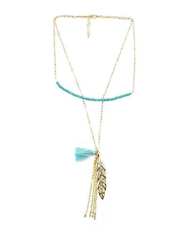 Zweilagige Statement Kette Halskette mit Anhänger - in Türkis, Rosa, Pink & Gold - Quasten Perlen Blatt Troddel