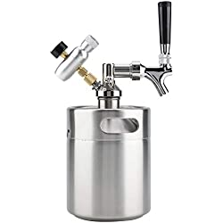 Mini Keg - Distributeur De Fût De Bière, Kit De Kegerator De Fût En Acier Inoxydable De 2 L Avec Robinet Système De Distribution De Bière Brassée Sous Pression For Bière Artisanale
