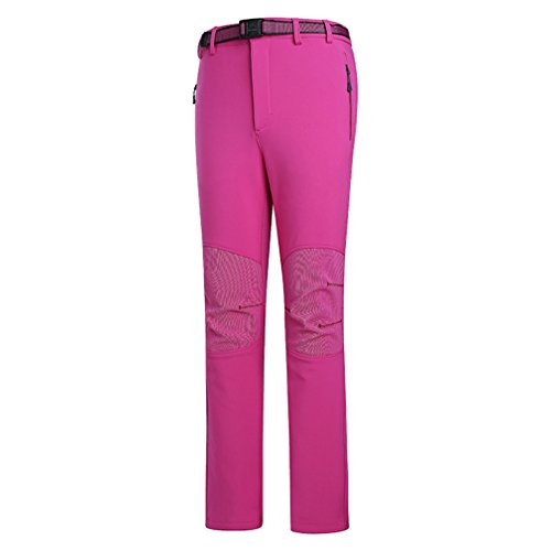 emansmoer Femme Coupe-Vent Doublé Polaire Pantalon Softshell Imperméable Outdoor Sport Randonnée Escalade Pantalon (X-Large, Rose Rouge)