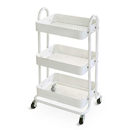 Salon Trolleys 3-stufiger, weißer, mobiler Scroll-Servicewagen, Mehrzweckwagen mit Bremse, Küchengestell aus Kohlenstoffstahl