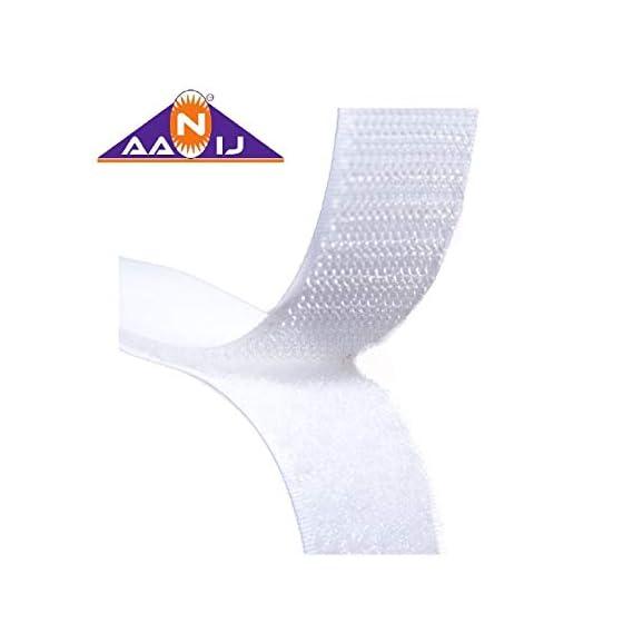 AANIJTM Hook and Loop Tape Fastener White premium Quality (5 Meter, 20 mm)