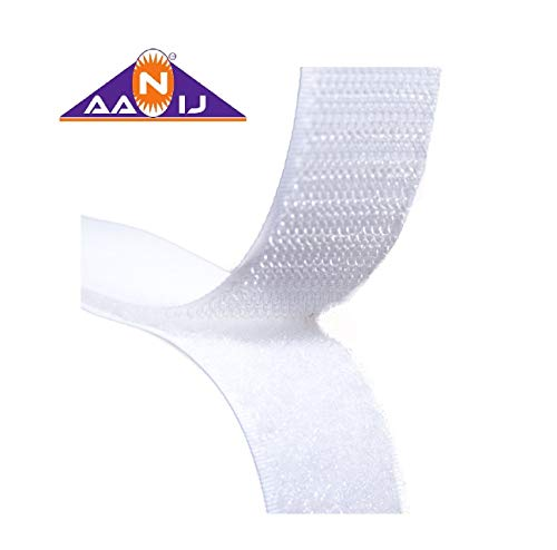 AANIJTM Hook and Loop Tape Fastener White premium Quality (5 Meter, 20 mm)