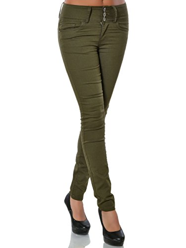 Damen High-Waist Skinny Hose Hoher Bund Röhre No 15823, Farbe:Khaki, Größe:XL / 42 (Khaki-hosen-hose)