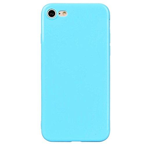 iPhone 7 Hülle, Yokata Einfarbig Jelly Weich Silikon Gel Case Ultra Slim Matte Cover Anti-Fingerprint Schutzhülle Sehr Dünn Handyhülle - Lila Blau