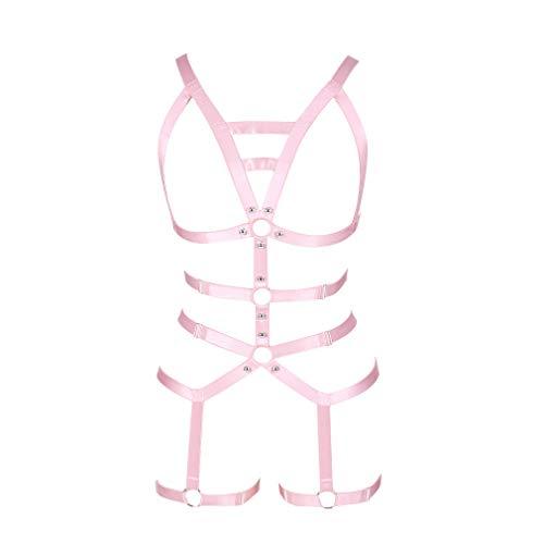 y Ganzer Körper ärmelloser BH Rock Strumpfband Set Körper Geschirr Punk Gothic Brust Gürtel Tanzen Halloween-Fest (Pink) ()