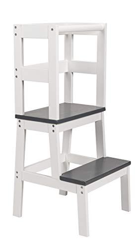 BOMI® Kinder Tritthocker mit 2 Stufen Swubi | Treppchen für Kinder in Grau | Stockerl für Kind & Baby aus Holz | Schemel, Waschbecken Hocker | Kinderhocker für Mädchen & Jungen