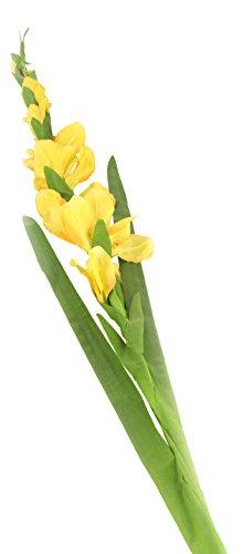 Floral Elegance F075YL - Glaïeul artificiel jaune de 118 cm