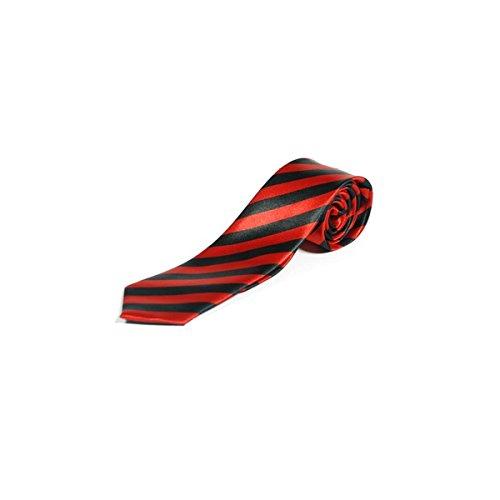 Cravates Minces Rayures Diagonales - Noir & Rouge