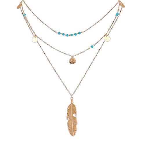 ODJOY-FAN Heiß Mode Gold Frau Halskette Einfach Türkisperlen Pailletten Mehrschichtig Halskette Blatt Halskette Anhänger (Gold,1 PC)