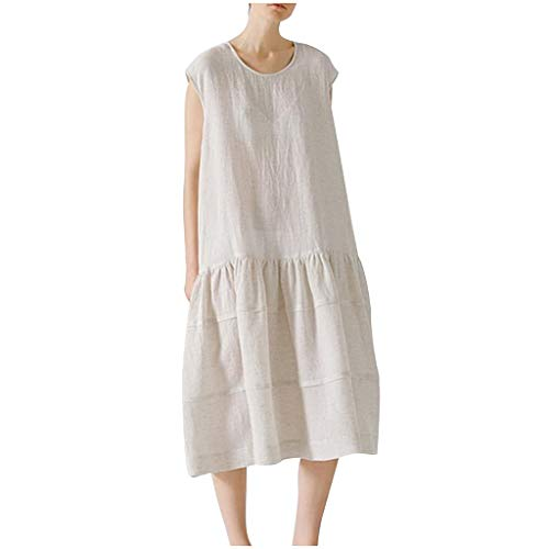BCFUDA Mode Frauen Sommer Baumwolle und Leinen Langes Kleid Lose Atmungsaktiv Dünn und Leicht Strandkleid Ärmellos Leichtgewicht Bequem Maxi Kleid - Meerjungfrau Eine Schulter Sweep