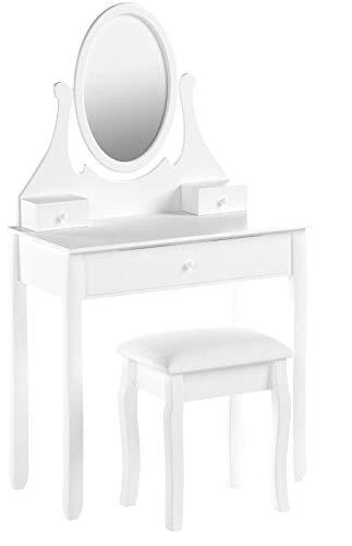 Songmics® Schminktisch Frisierkommode Frisiertisch Kosmetiktisch mit Spiegel inkl. Hocker, weiß, Holz, RDT002 - 11