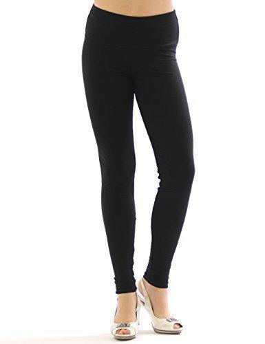Damen Leggings hoher Bund lange Hose Leggins lang Baumwolle Wäsche schwarz XL