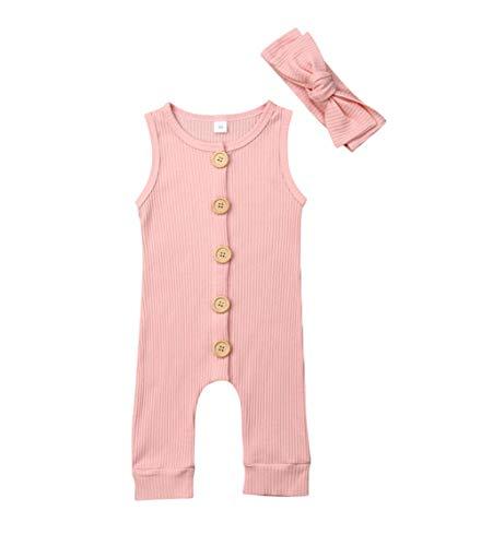 Baby ärmellose Overall Knöpfe Strampler Freizeitanzug Kleinkind Sommer Solide Spielanzug Outfits 0-18 Monate (12-18 Monate, Pink) -