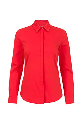 Promiss Damen Eleganter Langarm Bluse - Baumwolle Polyamide - Business Look Rot, 038