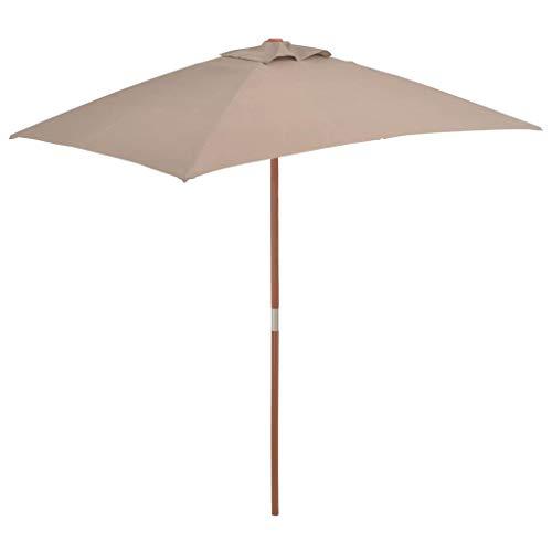 Rechteckiger Sonnenschirm Tisch (Tidyard- Sonnenschirm mit Holz-Mast UV Schutz 150 x 200 cm Balkonschirm Gartenschirm Strandschirm Marktschirm Terrassenschirm für Garten Balkon Terrasse oder Strand)