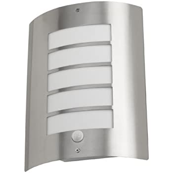 Leyton lighting avon exterior ip44 wall light with pir motion leyton lighting avon exterior ip44 wall light with pir motion sensor stainless steel finish with mozeypictures Gallery