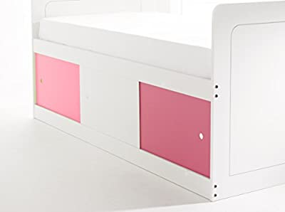 Scallywag Kids Captains Bed 3Ft Shorty in White with 3 Sliding Doors (2 x Pink/1 x White). Made In The UK.