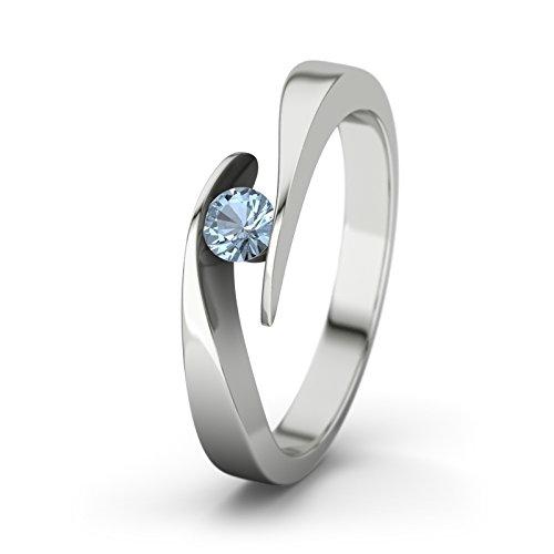 21Diamonds Damen-Ring Summertime Verlobungsring blauem Topas Brillantschliff, Silber Gr.57 (18.1) Verlobungsringe (Echter Diamant Ringe Für Damen)