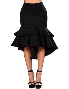 Sentao Mujer Alta Cintura Retro De Cola De Pescado Falda Con Volantes Irregular Midi Falda Elegante