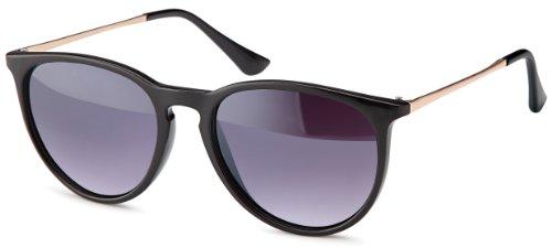 Vintage Sonnenbrille im angesagtem 60er Style mit trendigen bronzefarbenden Metallbügeln Brillentrends (smoke-Verlauf)