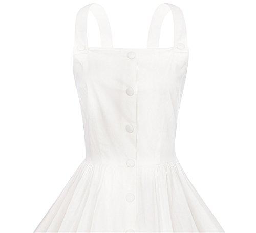 Damen Retro Einfarbig Einreihig Satin Baumwolle Schlinge Schlank  Partykleider Ballettröckchen Brautjunferkleider Kleider Weiß ...