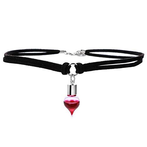 Halskette mit Fläschchen mit Blut, schwarzes Halsband, für - Halloween Biker Zubehör