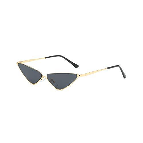 Golfbrille,Retro Small Cat Eye Sunglasses For Women Brand Designer Metal Half Frame Shade Triangle Eyeglasses Vintage Cateye Sun Glasses black ()