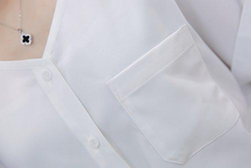 TLZC - Chemisier - Avec boutons - Uni - Manches Courtes - Femme Blanc