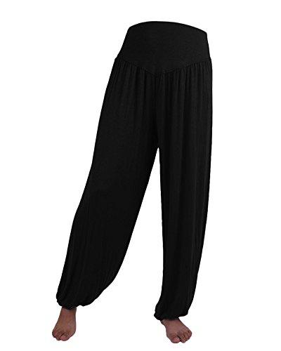 ZongSen Damen Super Soft Modal Yoga Harem Fitness Pumphose Ballonhose Aladinhose Lounge Hosen Schwarz XL - Modal Lounge-hose