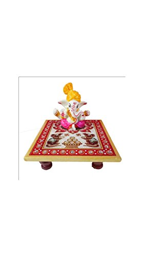 SHINING WINGS - Marble Chowki Ganesha Idol (10 cm x 10 cm x 10 cm) - Marble Chowki Ganesha |Marble Chowki Ganesh | Small Solid Modern Ganash Statue Engraved with Stones Hindu Religious Gifts Indian Decor a Perfect Idea for House Warming Gift, Ganpati Ganesh Idol Great Size for Small Home,Hindu Indian Elephant God Figurine Statue Sculpture, Statue of Lord Ganesha Mosaic Statue with Marble Choki, Modern Articraft Design in Red and Green  available at amazon for Rs.249