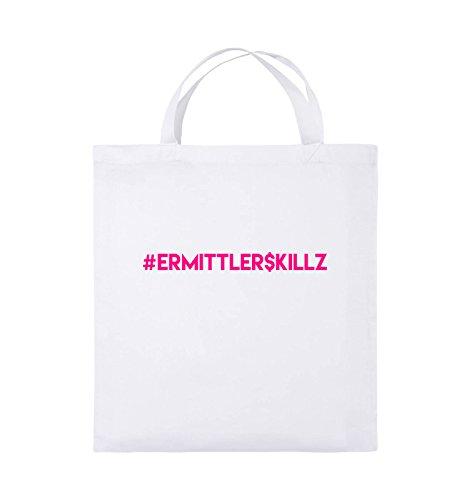 Comedy Bags - #ERMITTLER$KILLZ - Jutebeutel - kurze Henkel - 38x42cm - Farbe: Schwarz / Silber Weiss / Pink