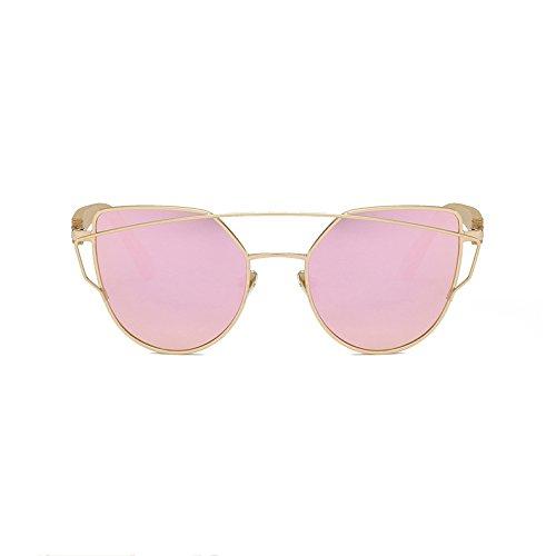Cat Eye Sonnenbrille Bambus Brille Metall Bambus Bein Weibliche Modelle High-End-Farbe Film Sonnenbrille,Pink
