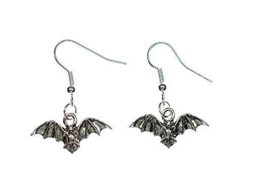 Fledermaus Ohrringe Hänger Miniblings Halloween Vampir Bat Blutsauger versilbert