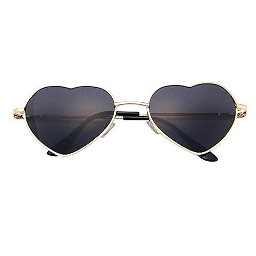 Topgrowth sunglass uomo donna cornice metallica signora occhiali da sole a forma di cuore vacanza lolita love (e)
