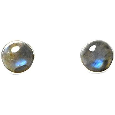 Forma rotonda, in argento Sterling, con LABRADORITE -Orecchini a lobo - 8 mm, (LBS2103165)