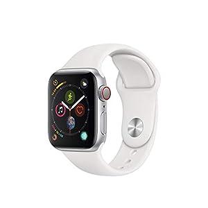 Apple Watch Series 4 (GPS + Cellular) 40 mm Aluminiumgehäuse, Silber, mit Sportarmband, Weiß
