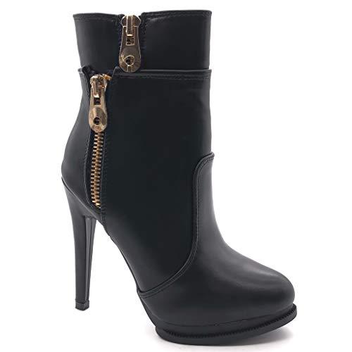 Angkorly damen Schuhe Stiefeletten - Stiletto - Sexy - Plateauschuhe - Reißverschluss - golden Stiletto high heel 12 CM - Schwarz 1043 T 39