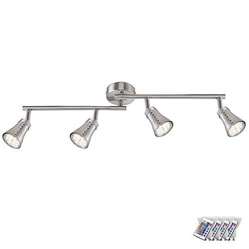 Decken Strahler Esszimmer Leuchte dimmbar Fernbedienung EEK A im Set inklusive RGB LED-Leuchtmittel