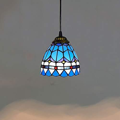 Tiffany Style Pendelleuchte Blaue mediterrane Glas Deckenleuchte 6 Zoll