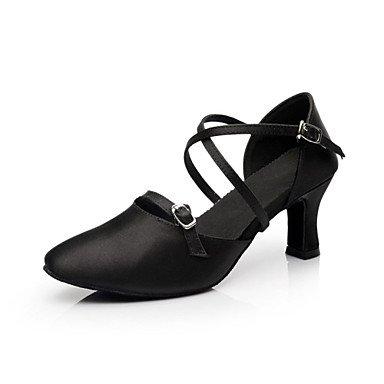 XINJING-S Frauen tanzen Schuhe Modern/Standard Schuhe Satin Ferse schwarz Schwarz