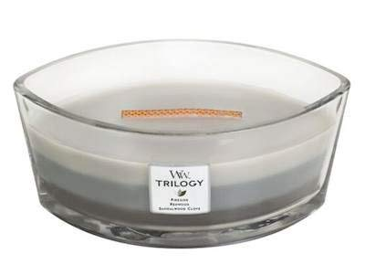 Dekorativer Kamin (Woodwick Le Bois Chaud Warmes Holz Trilogy Kamin, Mammutbaum, Sandelholz Nelke Dekorative Duftkerze im ovalformigem Glasgefäß, 453.6 g, Glas, Weiß dunkel Grau/durchsichtig, 11.1 x 18.9 x 8.8 cm)