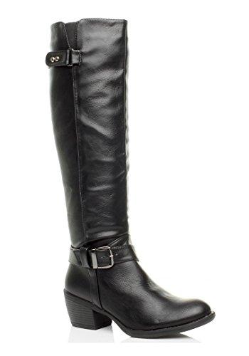 womens-ladies-mid-block-heel-zip-buckle-strap-biker-calf-knee-boots-size-5-38