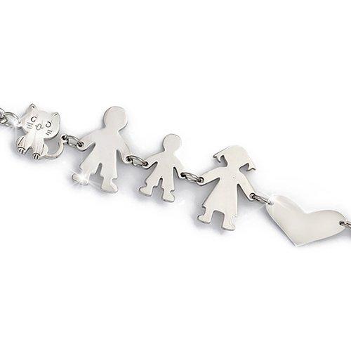 Beloved ❤️ braccialetto famiglia donna o unisex in acciaio - bracciale mamma, papa, bimbo, bimba, gatto e cane varie composizioni (genitori + bimbo + gatto)