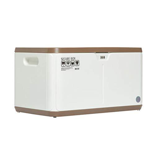 NIUZIMU Große stapelbare Kunststoff-Aufbewahrungsboxen mit Deckel, Kennwort-Box-Datei Home Office Safe mit Kennwortsperre (27L) -1283 (Color : Brown) (Datei-boxen Mit Deckel)