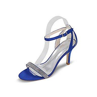 Wuyulunbi@ Scarpe donna seta Primavera Estate della pompa base Wedding scarpe tacco basso Peep toe Strass fibbia per la festa di nozze & Sera Beige argento Blu scuro
